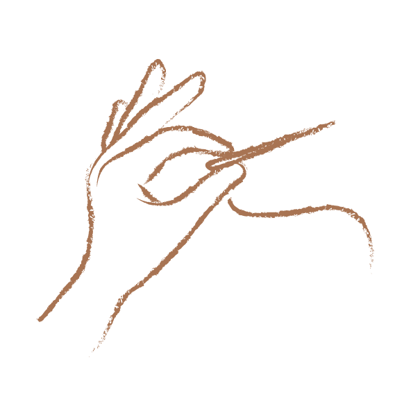 Illustrated Hand with Needle and Thread