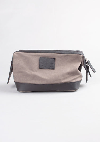 Grey Wax Cotton Wash Bag