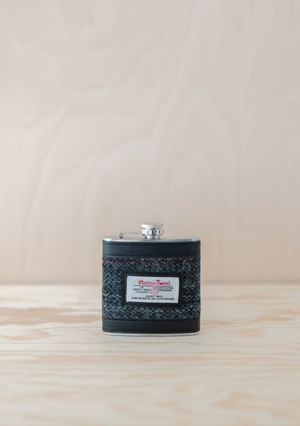 Dark Grey Berneray Harris Tweed Hip Flask