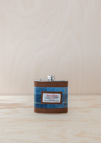 Light Blue Castle Bay Harris Tweed Hip Flask