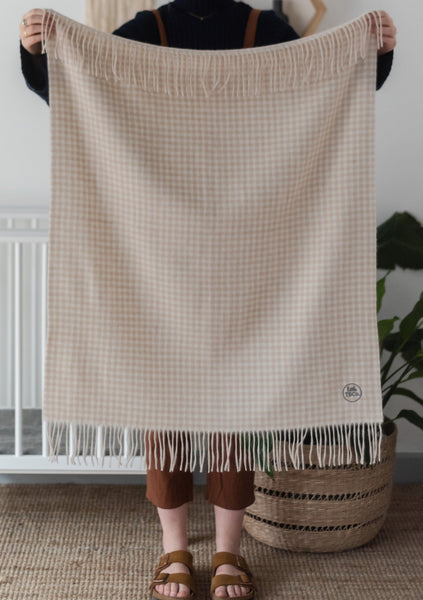 Super Soft Lambswool Baby Blanket in Oatmeal Gingham