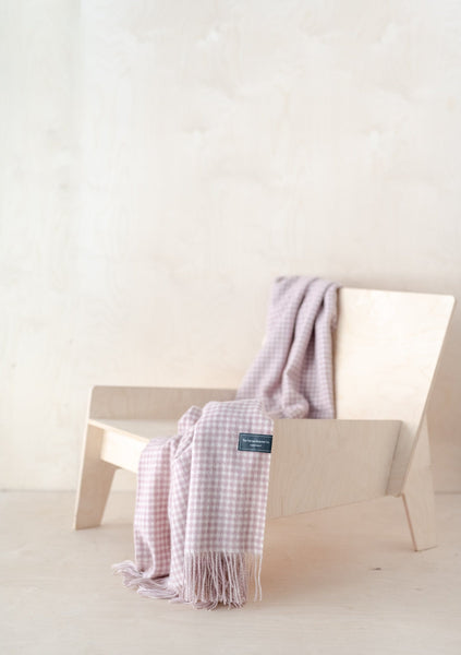 Lambswool Knee Blanket in Dusky Pink Gingham