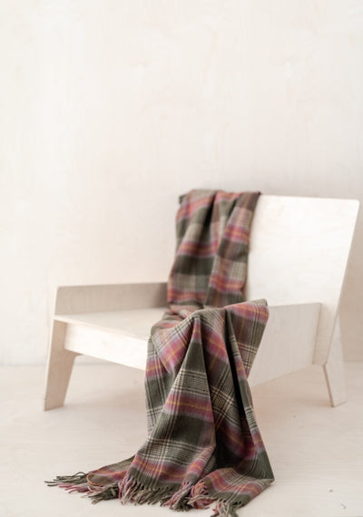 Lambswool Knee Blanket in Olive Heritage Check
