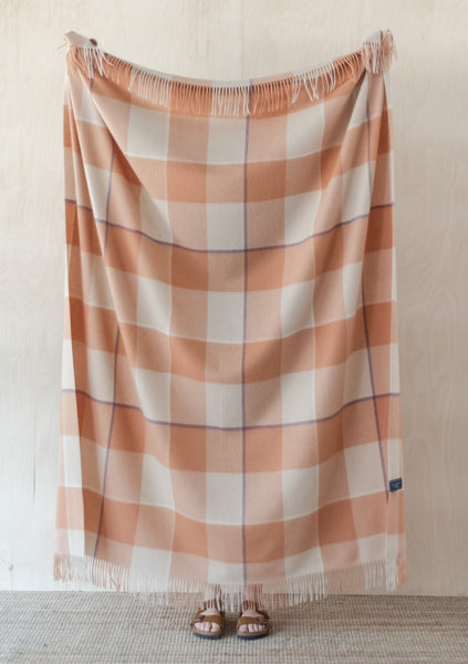 Lambswool Blanket in Terracotta & Mauve Oversized Check