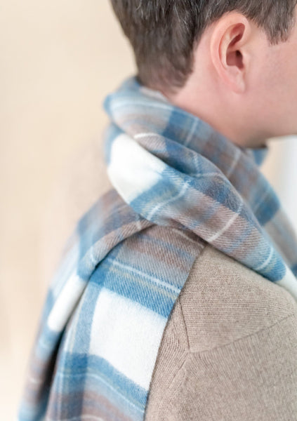Lambswool Men's Scarf in Stewart Muted Blue Tartan