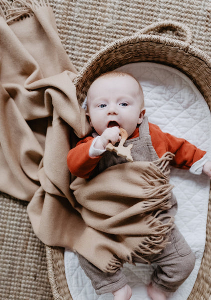 Super Soft Lambswool Baby Blanket in Camel