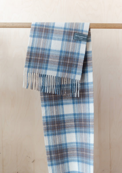 Cashmere Men's Scarf in Stewart Muted Blue Tartan