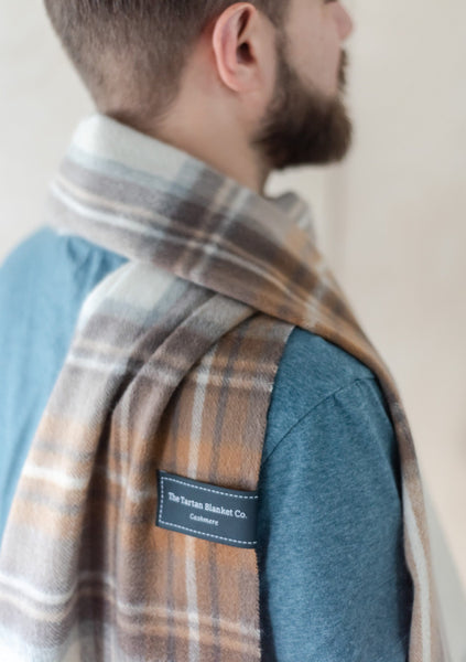 Cashmere Men's Scarf in Stewart Natural Dress Tartan