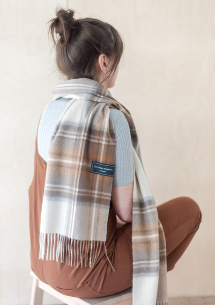 Cashmere Scarf in Stewart Natural Dress Tartan