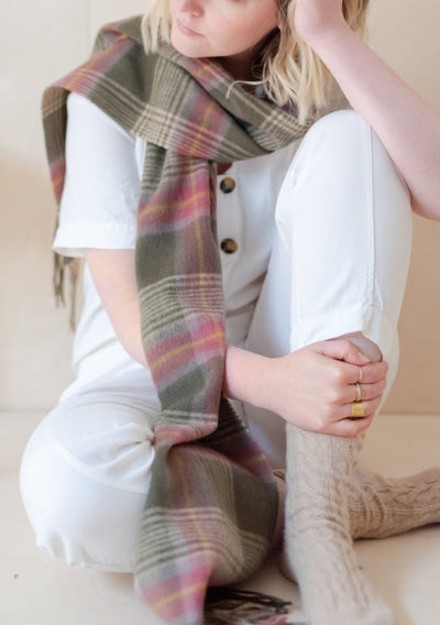 Lambswool Scarf in Olive Heritage Check