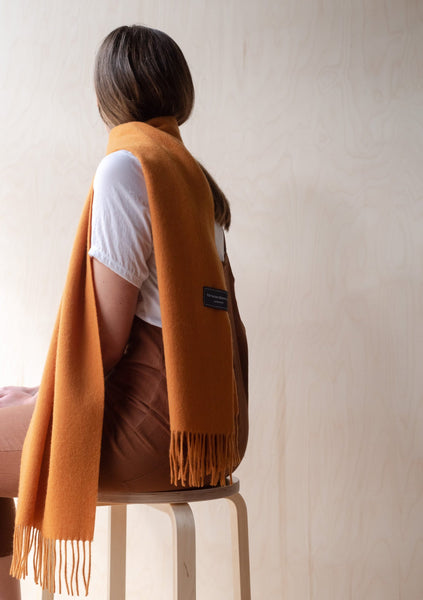 Lambswool Scarf in Warm Ochre