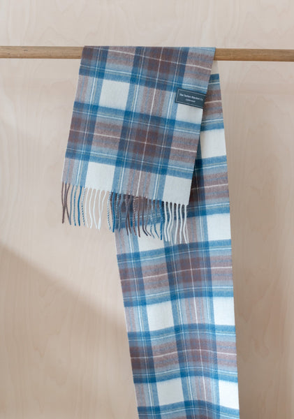 Lambswool Scarf in Stewart Muted Blue Tartan