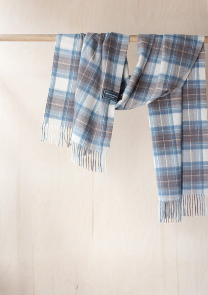 Cashmere Oversized Scarf in Stewart Muted Blue Tartan