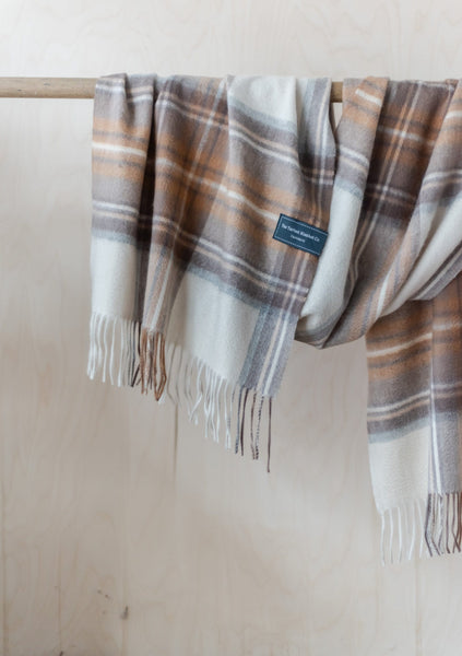 Cashmere Oversized Scarf in Stewart Natural Dress Tartan