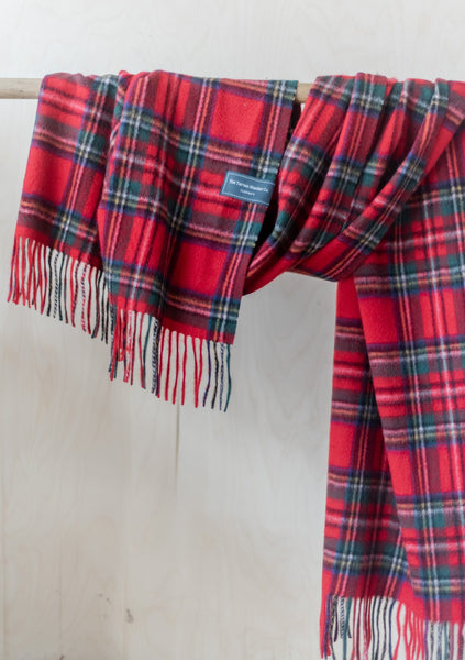 Cashmere Oversized Scarf in Stewart Royal Tartan