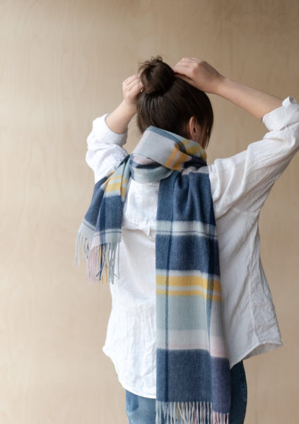 Lambswool Oversized Scarf in Dusky Pink & Navy Multi Check