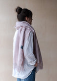 Lambswool Oversized Scarf in Dusky Pink Gingham