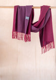 Lambswool Oversized Scarf in Plum & Berry Reversible