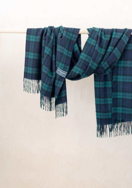 Cashmere Blanket Scarf in Black Watch Tartan