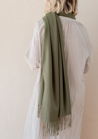 Cashmere Blanket Scarf in Olive