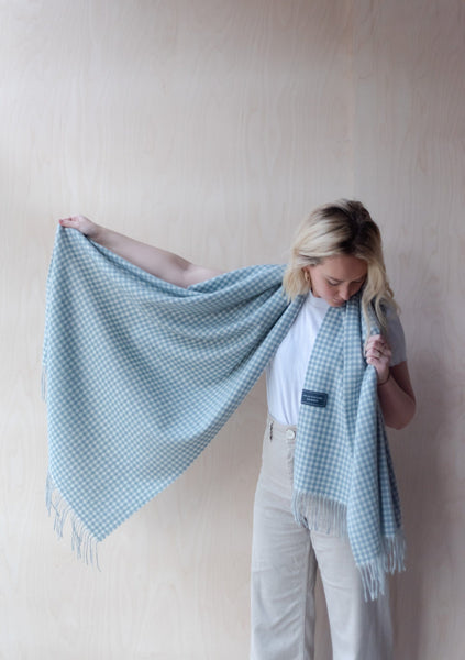 Lambswool Blanket Scarf in Soft Stone Gingham