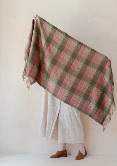 Lambswool Blanket Scarf in Olive Heritage Check