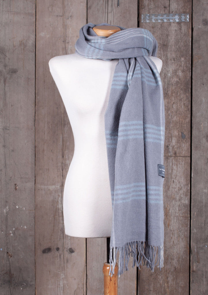 Lambswool Blanket Scarf in Quiet Grey & Duck Egg Illusion Check