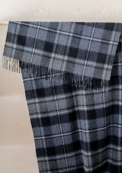Lambswool Blanket Scarf in Macrae Grey Tartan