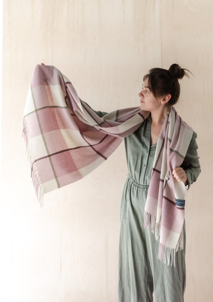 Lambswool Blanket Scarf in Dusky Pink & Olive Oversized Check