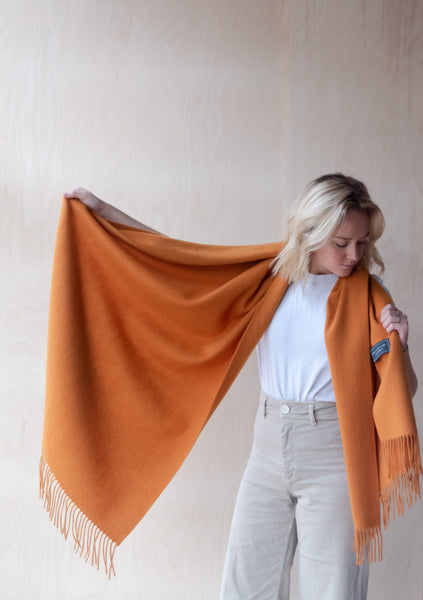 Lambswool Blanket Scarf in Warm Ochre