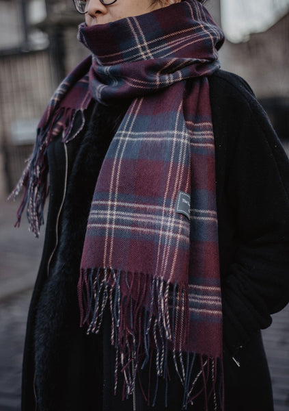 Scottish Made Lambswool Blanket Scarf in Persevere Malt Burgundy Tartan