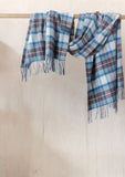 Lambswool Blanket Scarf in Stewart Muted Blue Tartan