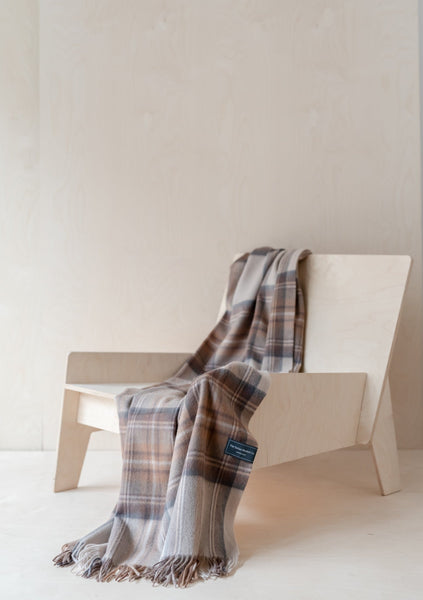 Lambswool Knee Blanket in Stewart Natural Dress Tartan