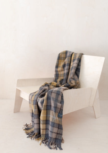 Recycled Wool Knee Blanket in Buchanan Natural Tartan