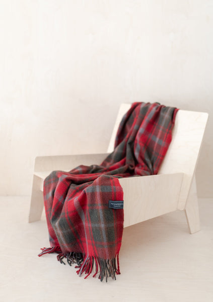 Recycled Wool Knee Blanket in Dark Maple Tartan