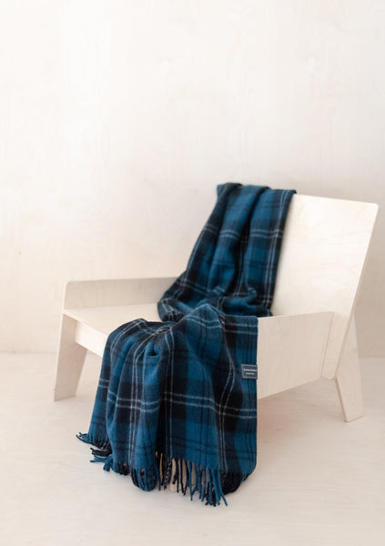 Recycled Wool Knee Blanket in Ramsay Blue Tartan