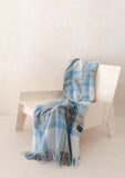 Recycled Wool Knee Blanket in Stewart Muted Blue Tartan