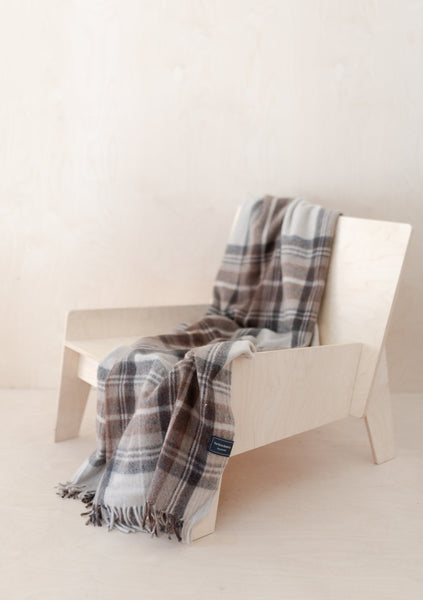 Recycled Wool Knee Blanket in Stewart Natural Dress Tartan