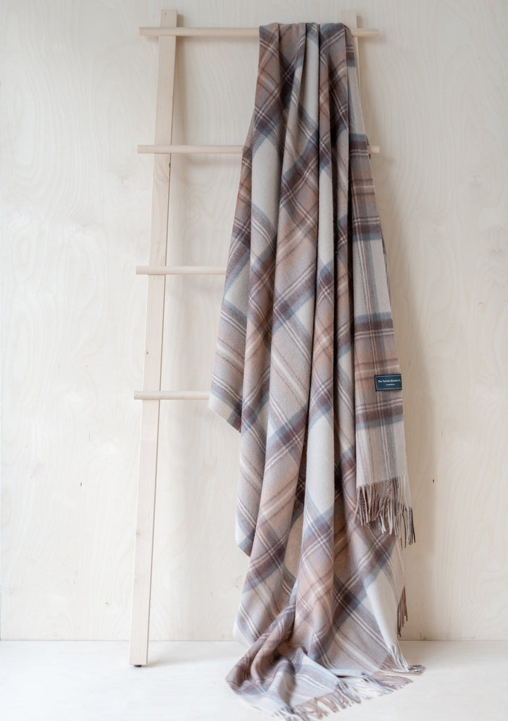 Cashmere Blanket in Stewart Natural Dress Tartan