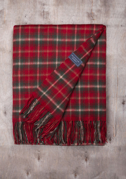 Lambswool Knee Blanket in Dark Maple Tartan
