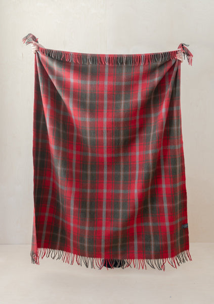 Recycled Wool Blanket in Dark Maple Tartan