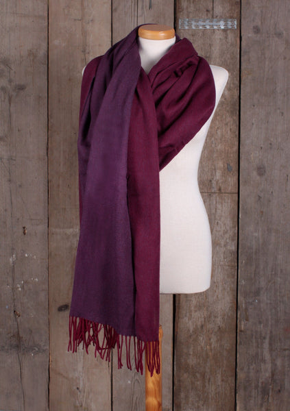 Lambswool Blanket Scarf in Plum & Berry Reversible