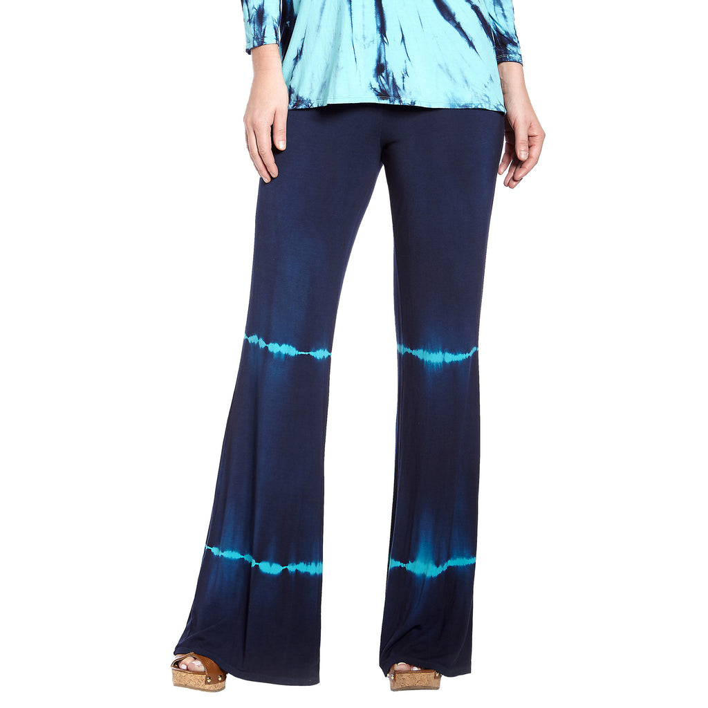 Culebra Bamboo Rayon Flair Pants : Ink with Turquoise Tie Dye