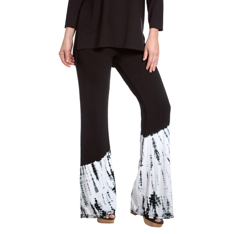 Culebra Bamboo Rayon Flair Pants : Black Tie Dye