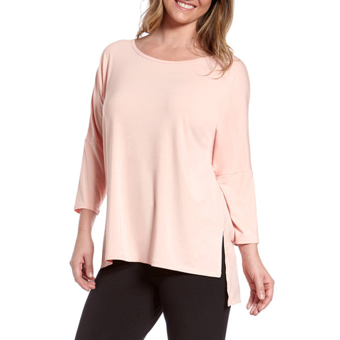 Culebra Split Side 3/4-Sleeve Bamboo Rayon Tunic Top with Drop Shoulders and Tiered Hem (2 colors)