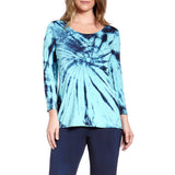 Culebra Bamboo Rayon 3/4-Sleeve Flair Top : Ink and Turquoise Tie Dye