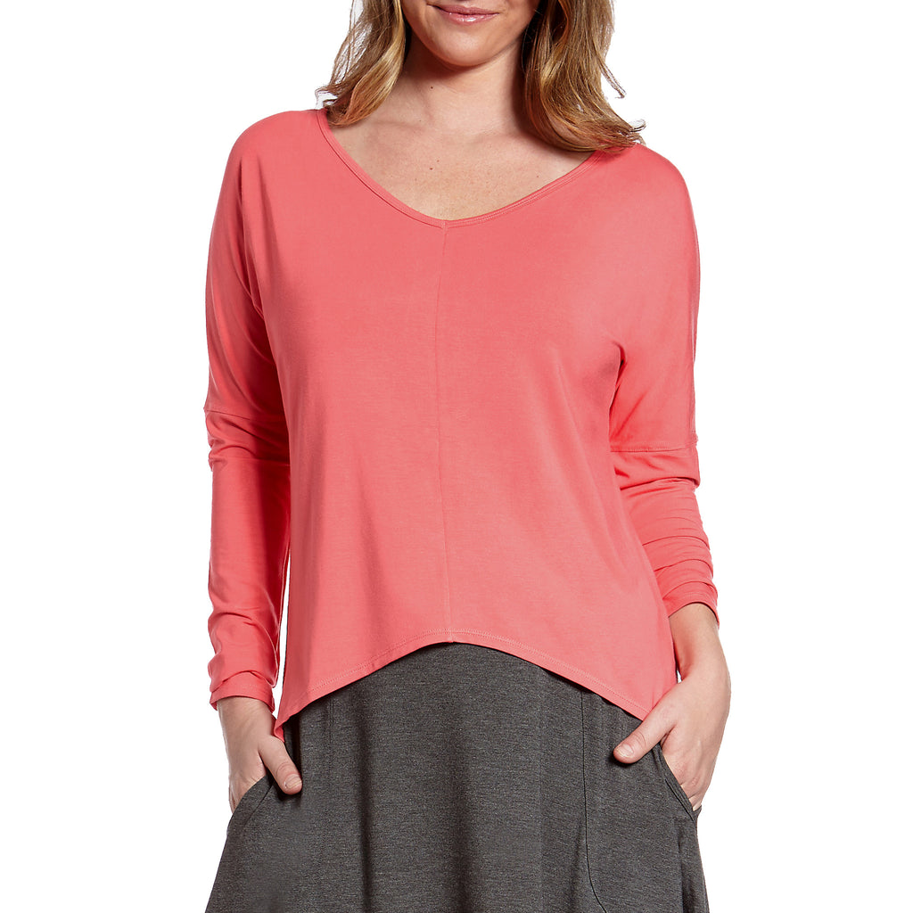 Belize V-Neck Bamboo Rayon Top with Drop Shoulders and Hi Lo Hem