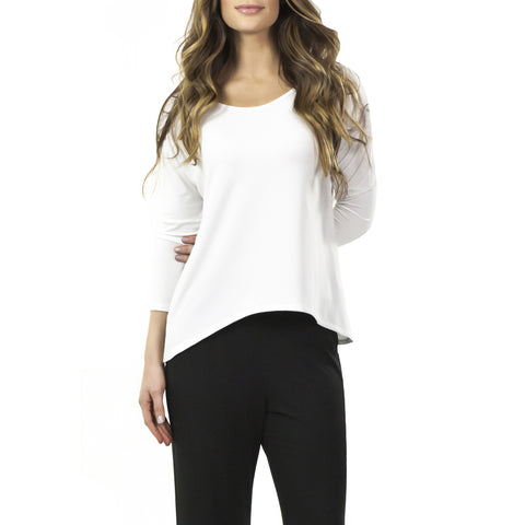 Aruba 3/4-Sleeve Bamboo Rayon Top with Drop Shoulders and Hi Lo Hem (2 colors)
