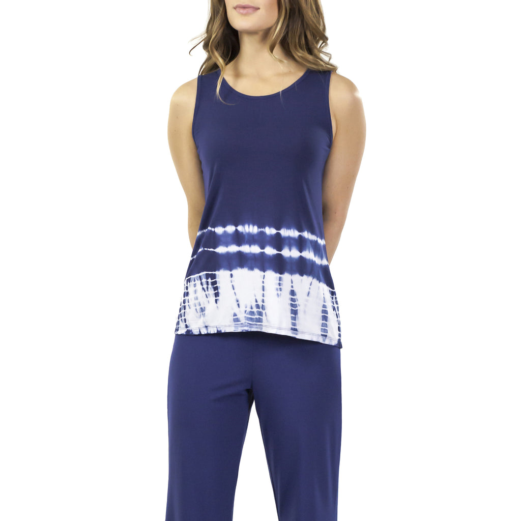 Aruba Bamboo Rayon Sleeveless Flair Top : Indigo Tie Dye