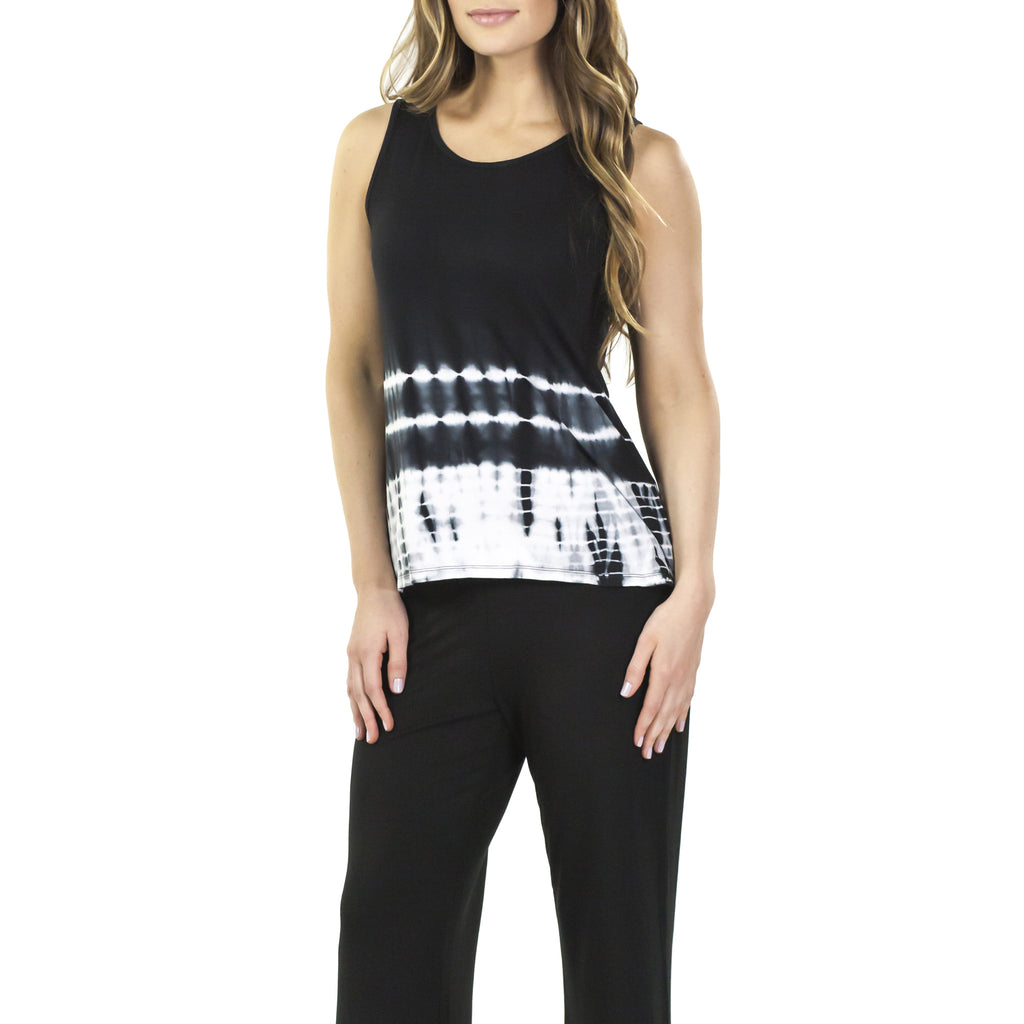 Aruba Bamboo Rayon Sleeveless Flair Top : Black Tie Dye